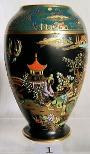 W & R Carlton Ware Black & Green Mikado Vase - SOLD